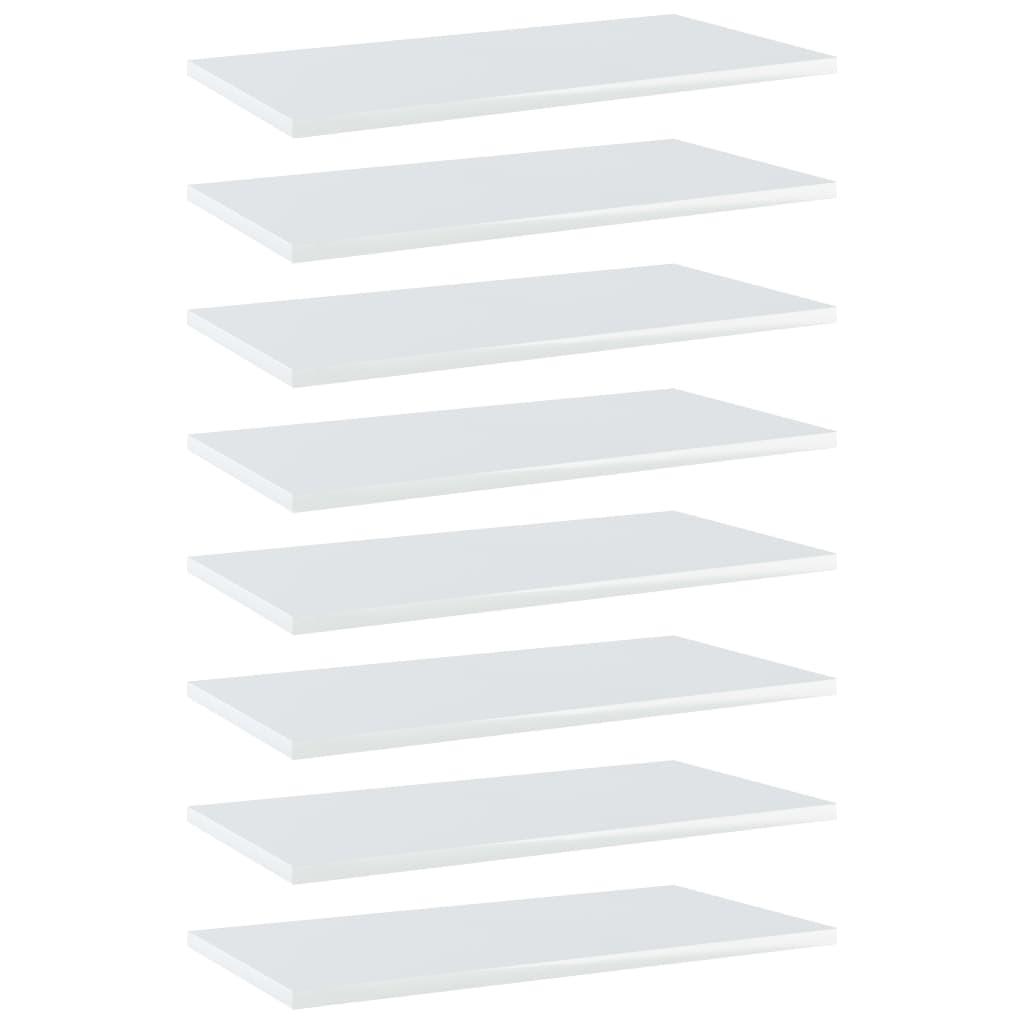 Bücherregal-Bretter 8 Stk. Hochglanz-Weiß 60x30x1,5 cm