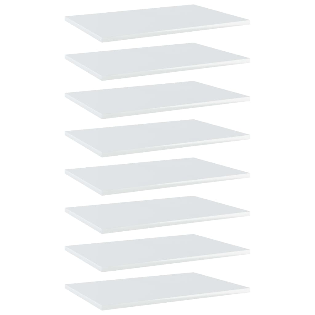 Bücherregal-Bretter 8 Stk. Hochglanz-Weiß 60x40x1,5 cm