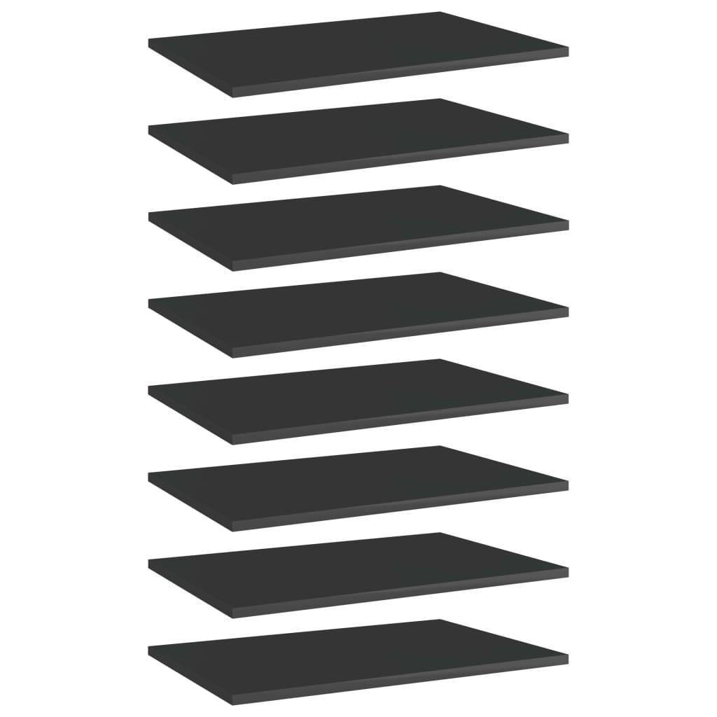 Bücherregal-Bretter 8 Stk. Hochglanz-Schwarz 60x40x1,5 cm