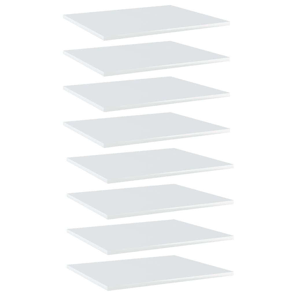 Bücherregal-Bretter 8 Stk. Hochglanz-Weiß 60x50x1,5 cm