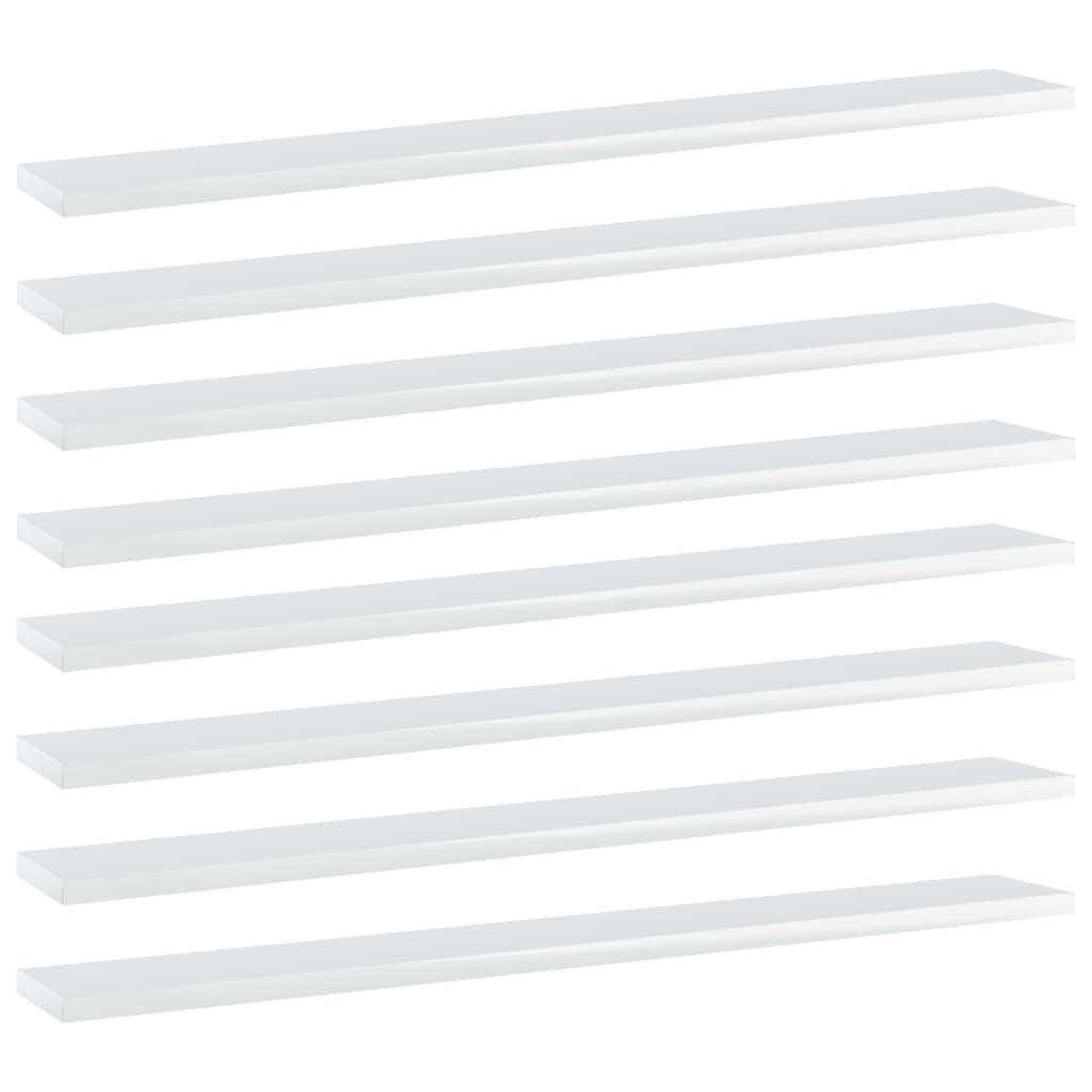 Bücherregal-Bretter 8 Stk Hochglanz-Weiß 80x10x1,5cm Spanplatte
