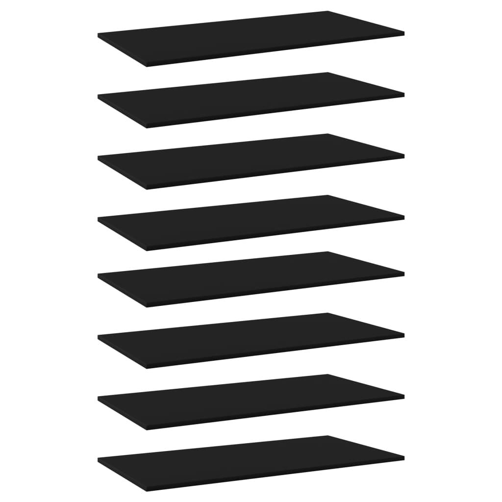 Bücherregal-Bretter 8 Stk. Schwarz 80x20x1,5 cm Spanplatte
