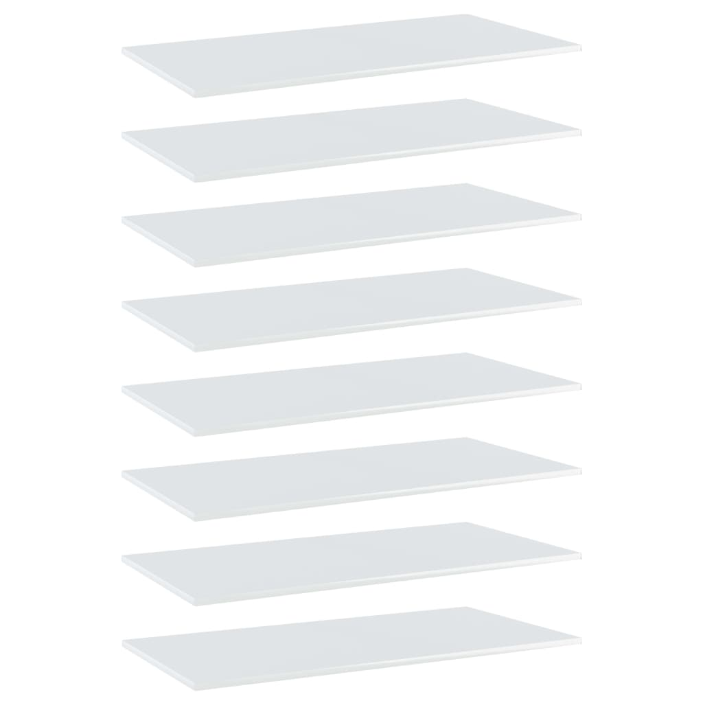 Bücherregal-Bretter 8 Stk. Hochglanz-Weiß 80x20x1,5 cm