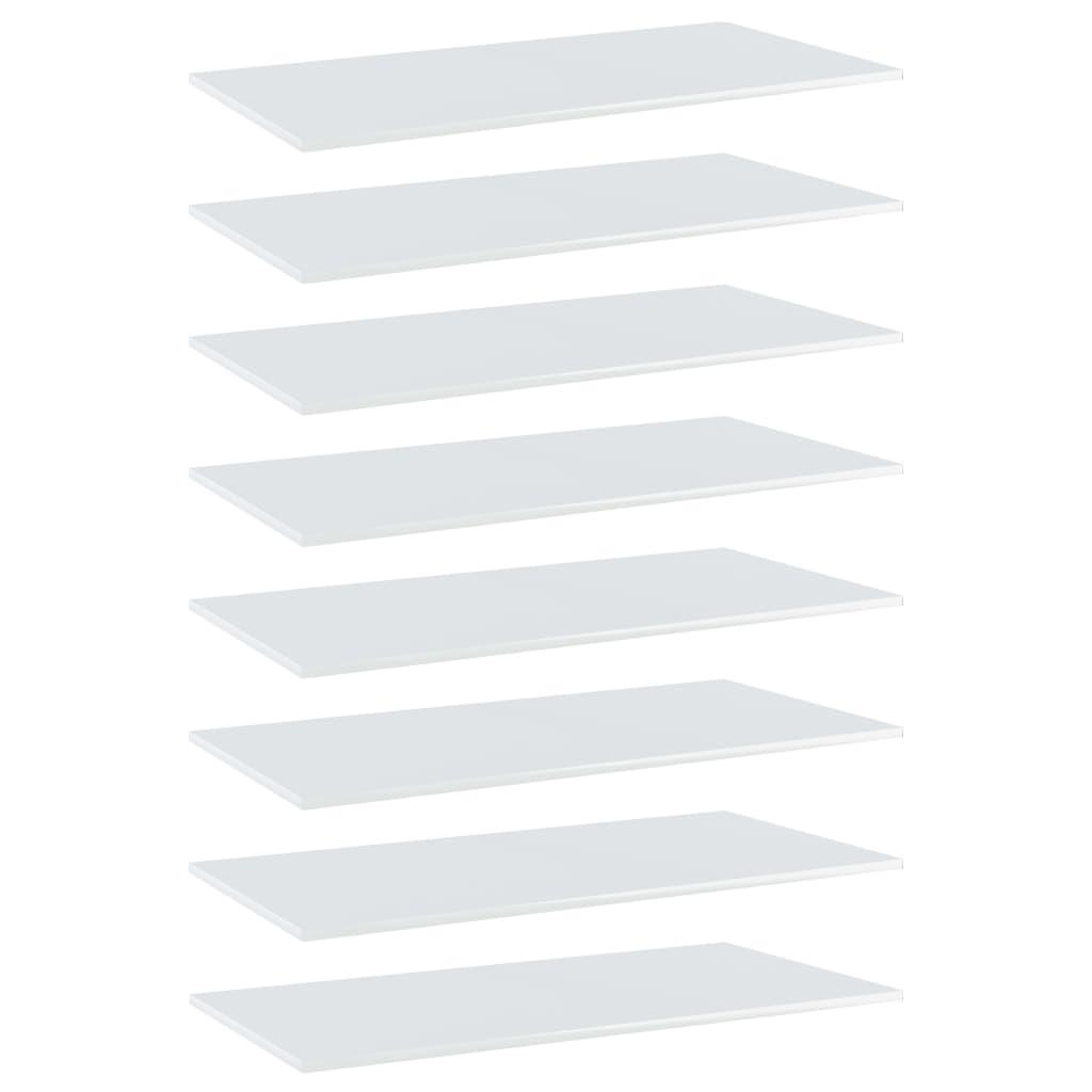 Bücherregal-Bretter 8 Stk. Hochglanz-Weiß 80x30x1,5 cm