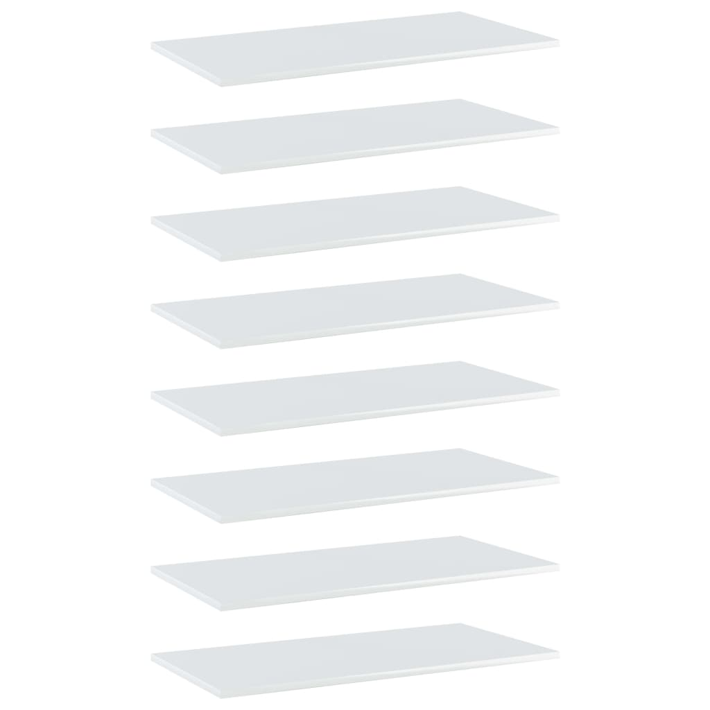 Bücherregal-Bretter 8 Stk. Hochglanz-Weiß 80x40x1,5 cm