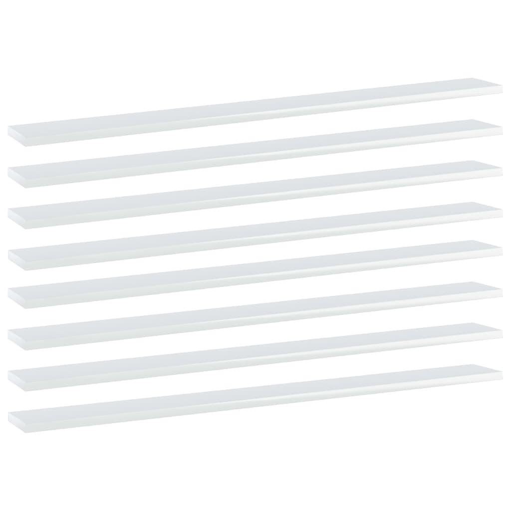 Bücherregal-Bretter 8 Stk. Hochglanz-Weiß 100x10x1,5 cm