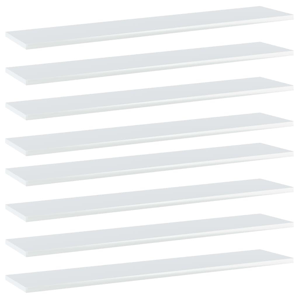 Bücherregal-Bretter 8 Stk. Hochglanz-Weiß 100x20x1,5 cm