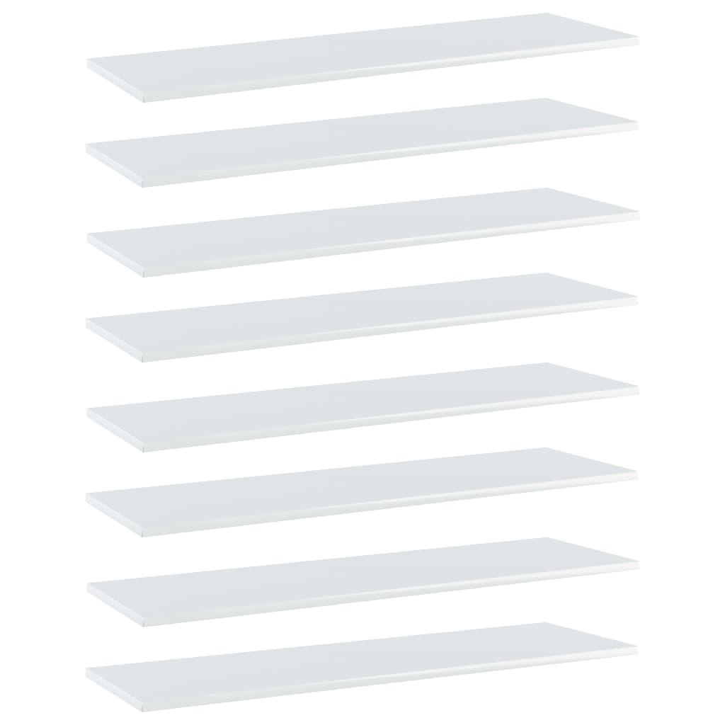 Bücherregal-Bretter 8 Stk. Hochglanz-Weiß 100x30x1,5 cm