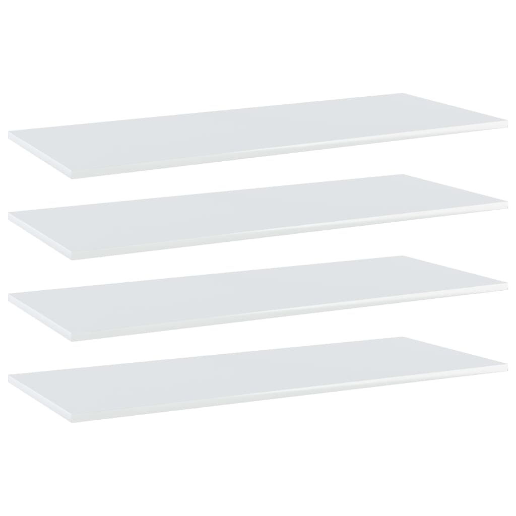 Bücherregal-Bretter 4 Stk. Hochglanz-Weiß 100x40x1,5 cm