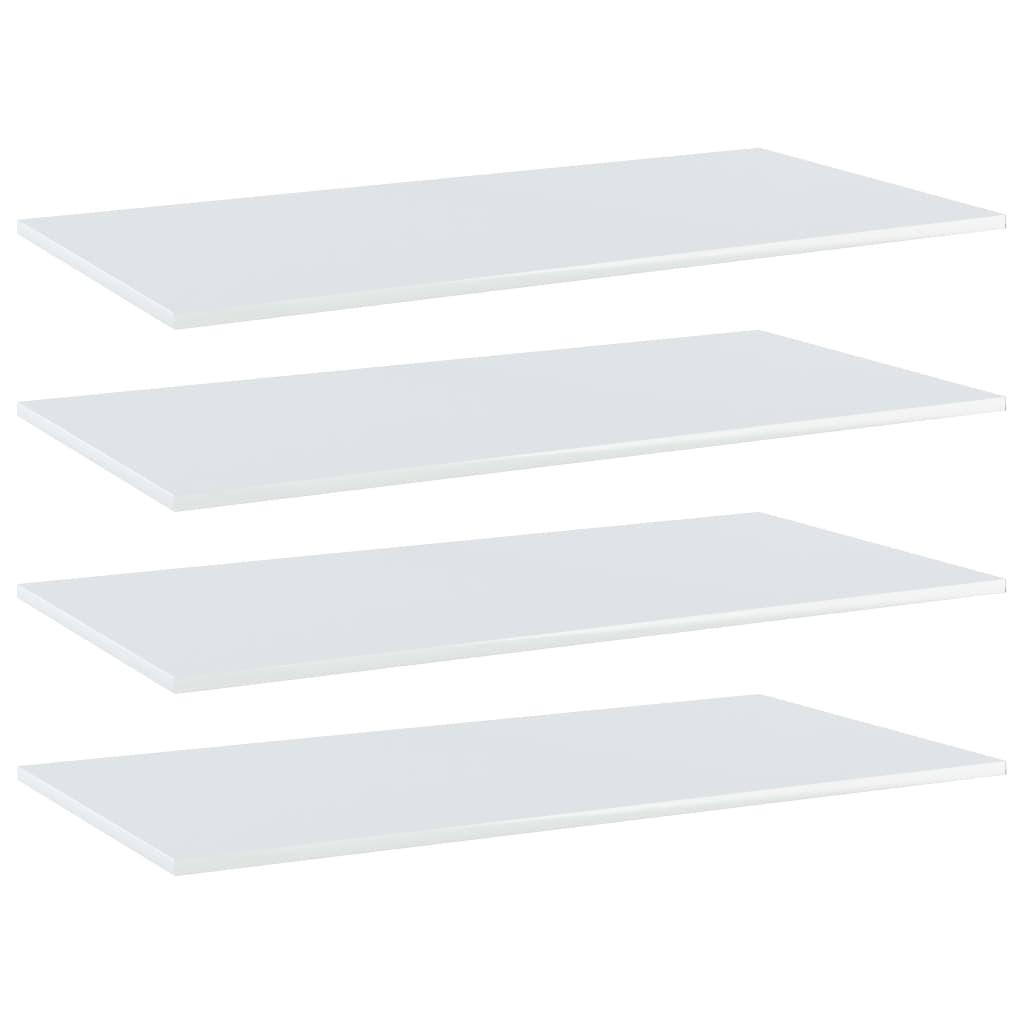 Bücherregal-Bretter 4 Stk. Hochglanz-Weiß 100x50x1,5 cm