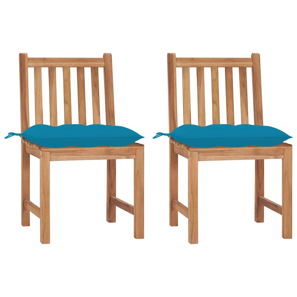 Gartenstühle 2 Stk. mit Kissen Massivholz Teak