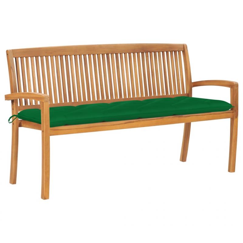 Stapelbare Gartenbank mit Auflage 159 cm Massivholz Teak