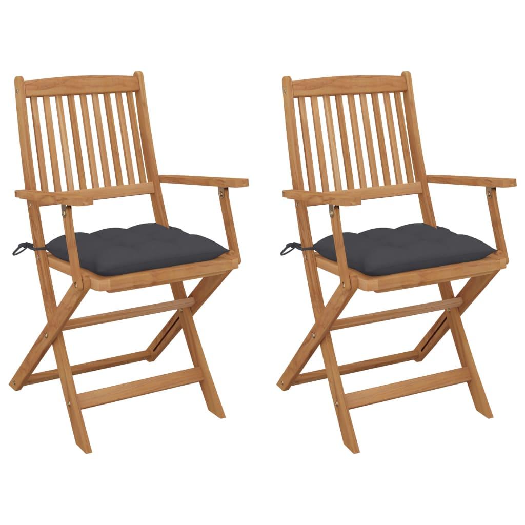 Klappbare Gartenstühle 2 Stk. mit Kissen Massivholz Akazie