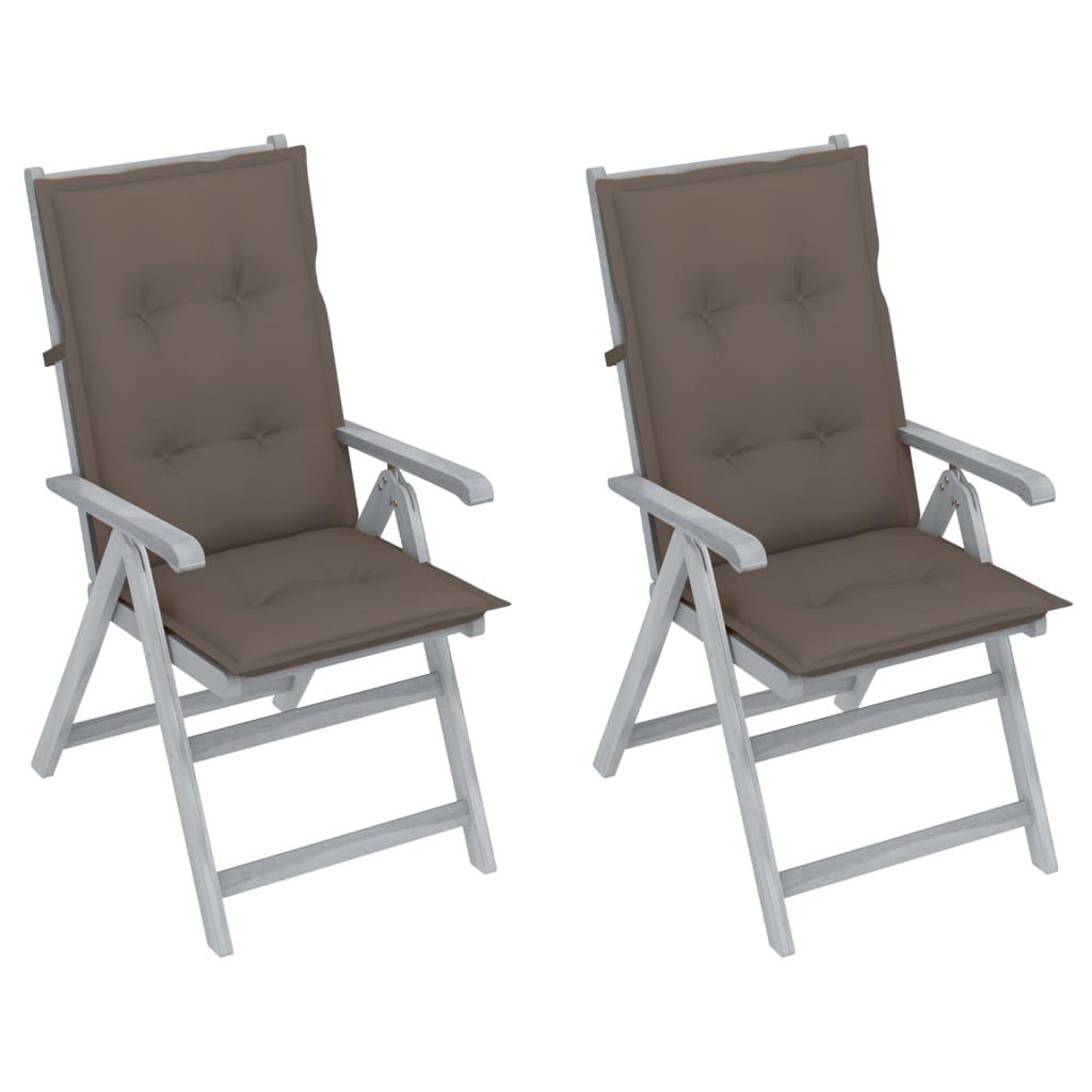 Verstellbare Gartenstühle 2 Stk. mit Auflagen Massivholz Akazie