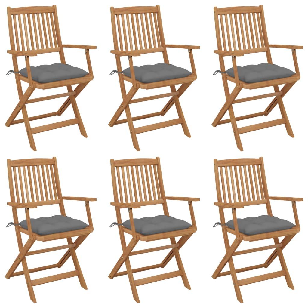 Klappbare Gartenstühle 6 Stk. mit Kissen Massivholz Akazie