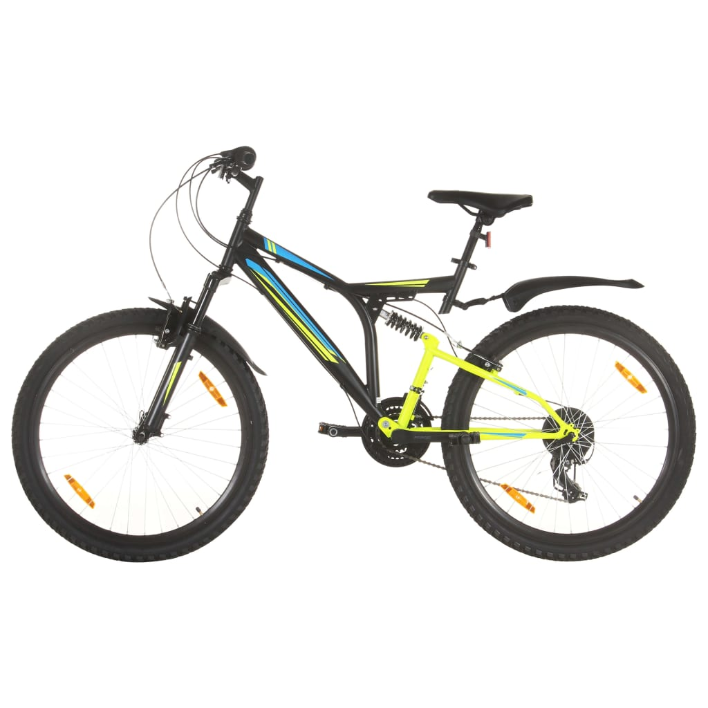 Mountainbike 21 Gang 26 Zoll Rad 49 cm Schwarz