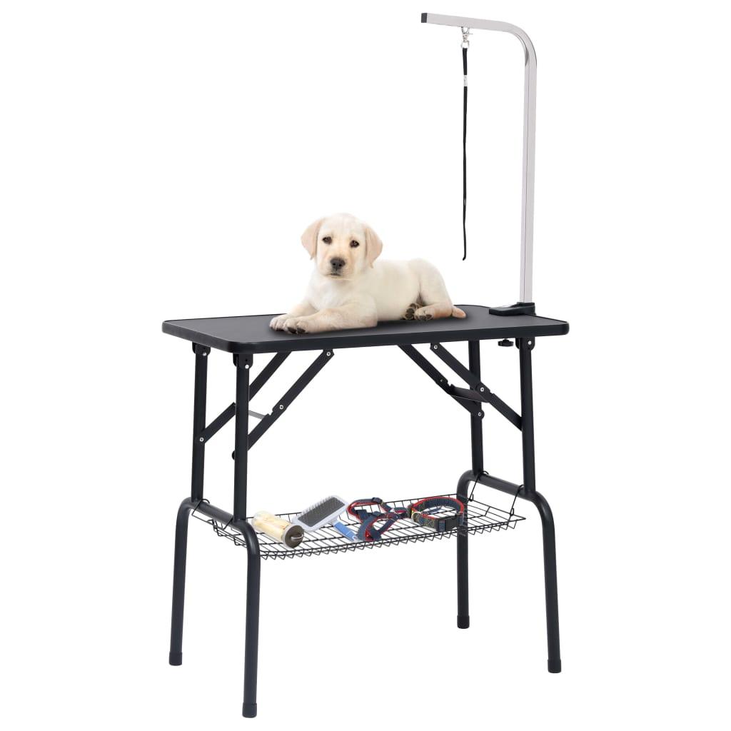 Verstellbarer Trimmtisch für Hunde mit 1 Schlaufe und Korb