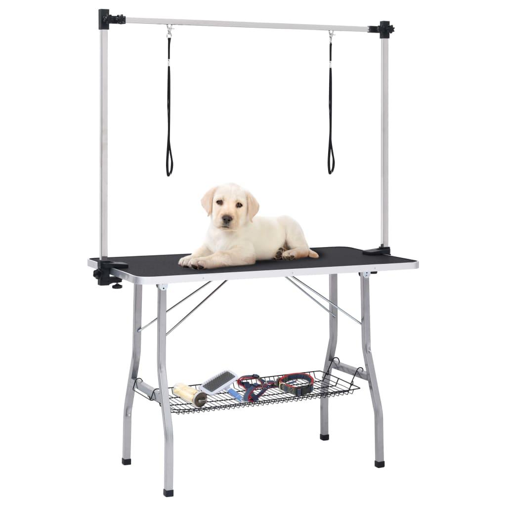Verstellbarer Trimmtisch für Hunde mit 2 Schlaufen und Korb