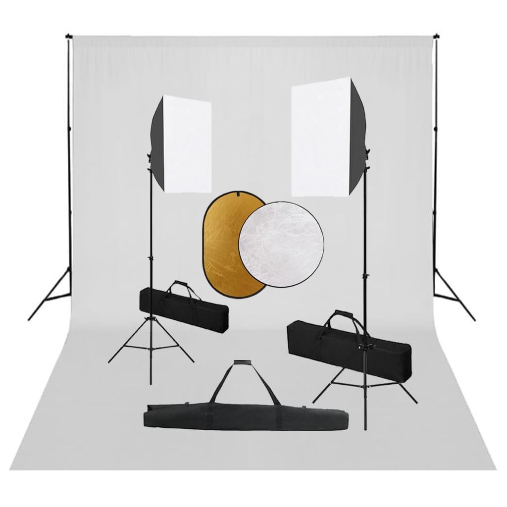Fotostudio-Set mit Softbox-Leuchten, Hintergrund und Reflektor