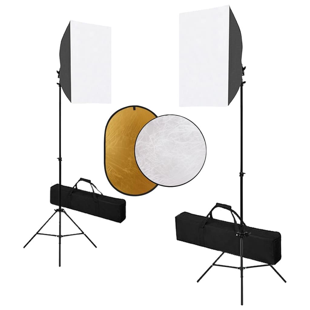 Fotostudio-Set mit Softbox-Leuchten und Reflektor