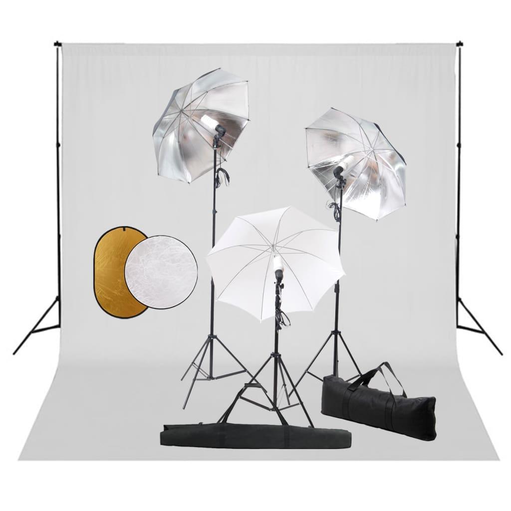 Fotostudio-Set mit Leuchten, Schirmen, Hintergrund, Reflektor