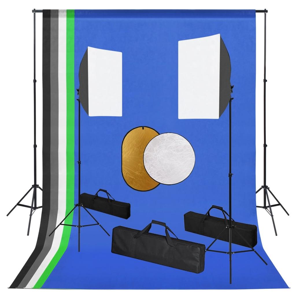 Fotostudio-Set mit Leuchten, Hintergrund und Reflektor