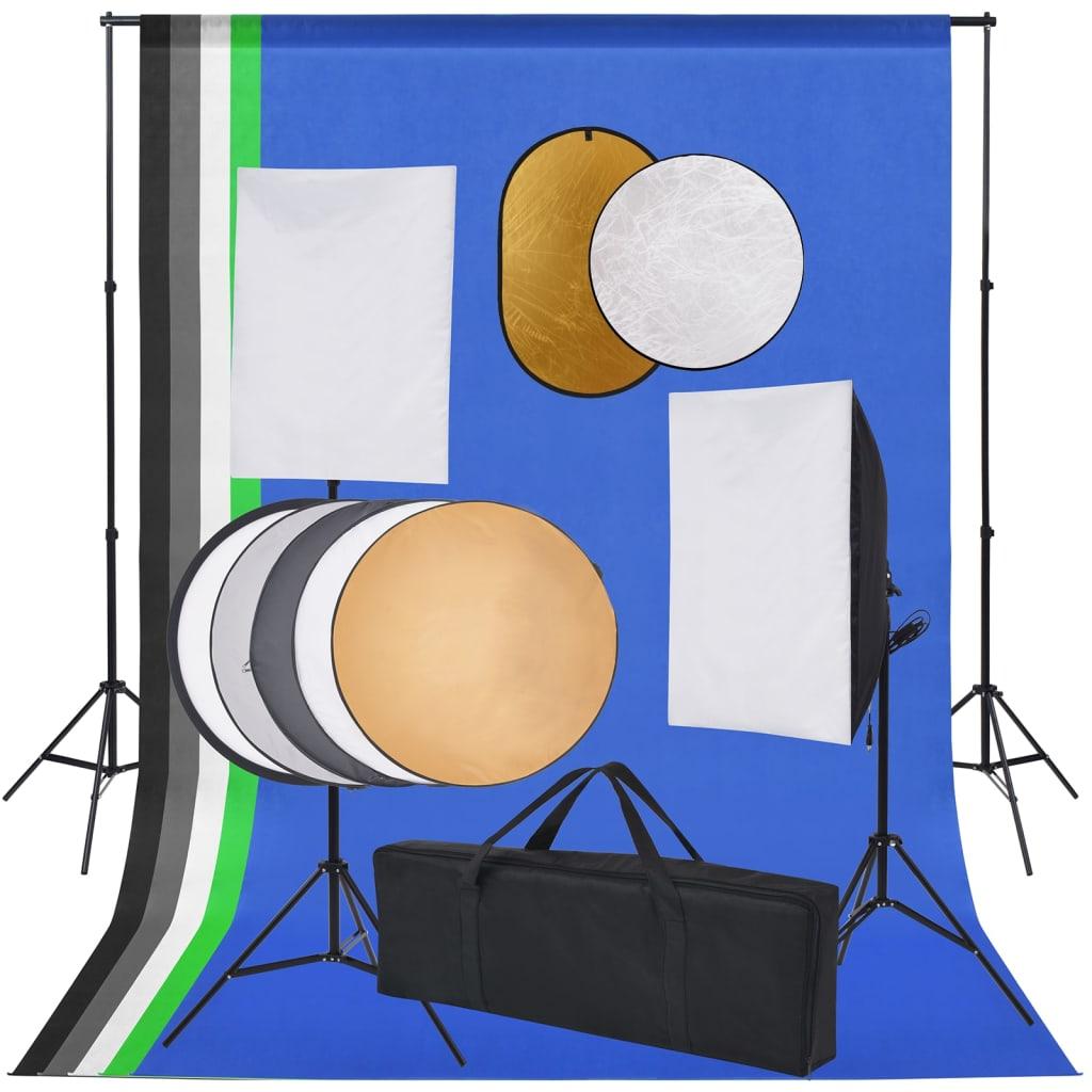 Fotostudio-Set mit Softbox-Lampen, Hintergrund und Reflektor
