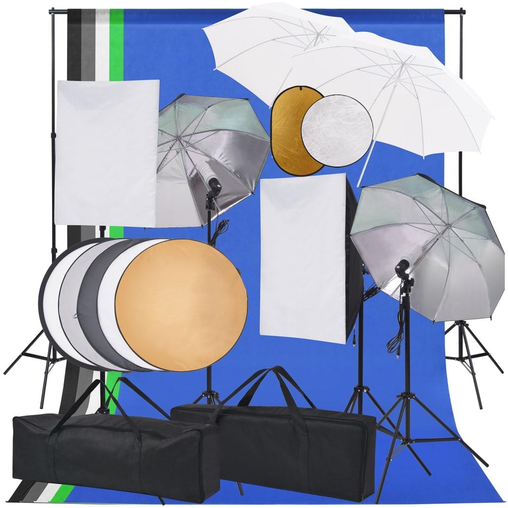 Fotostudio-Set Softbox-Lampen, Schirm, Hintergrund, Reflektor