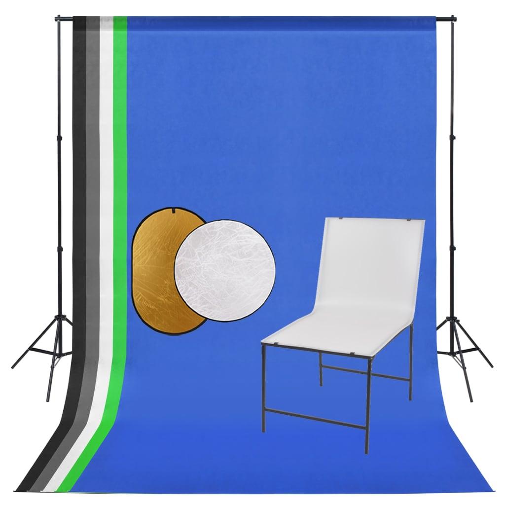 Fotostudio-Set mit Aufnahmetisch, Hintergrund und Reflektor