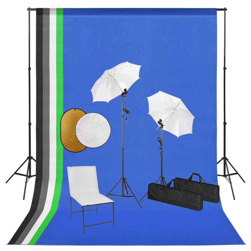Fotostudio-Set mit Lampen, Schirmen, Hintergrund, Reflektor