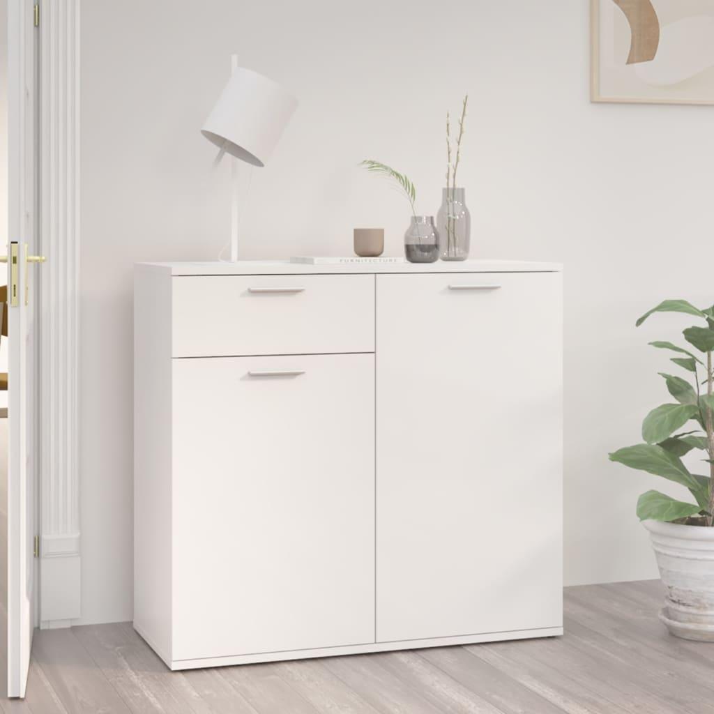 Sideboard Hochglanz-Weiß 80x36x75 cm Spanplatte