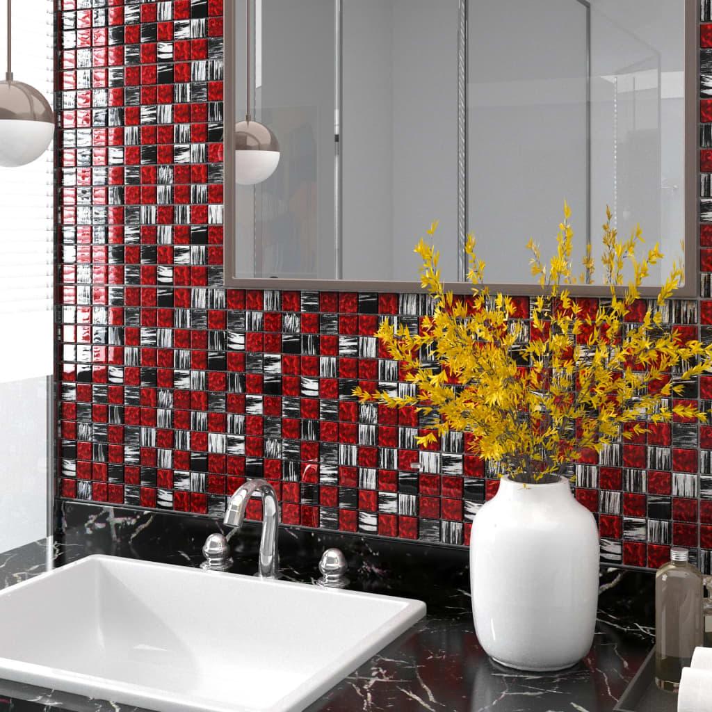 Selbstklebende Mosaikfliesen 11 Stk. Schwarz Rot 30x30 cm Glas