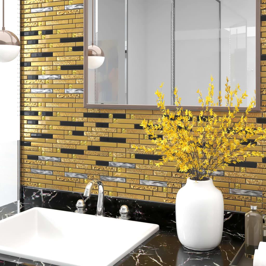 Selbstklebende Mosaikfliesen 11 Stk Schwarz Golden 30x30cm Glas