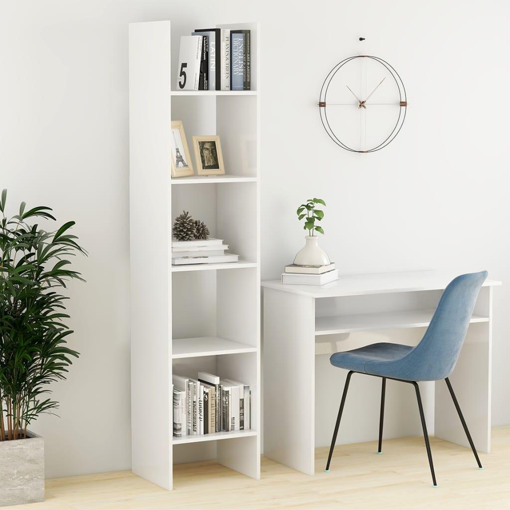 Bücherregal Hochglanz-Weiß 40x35x180 cm Spanplatte