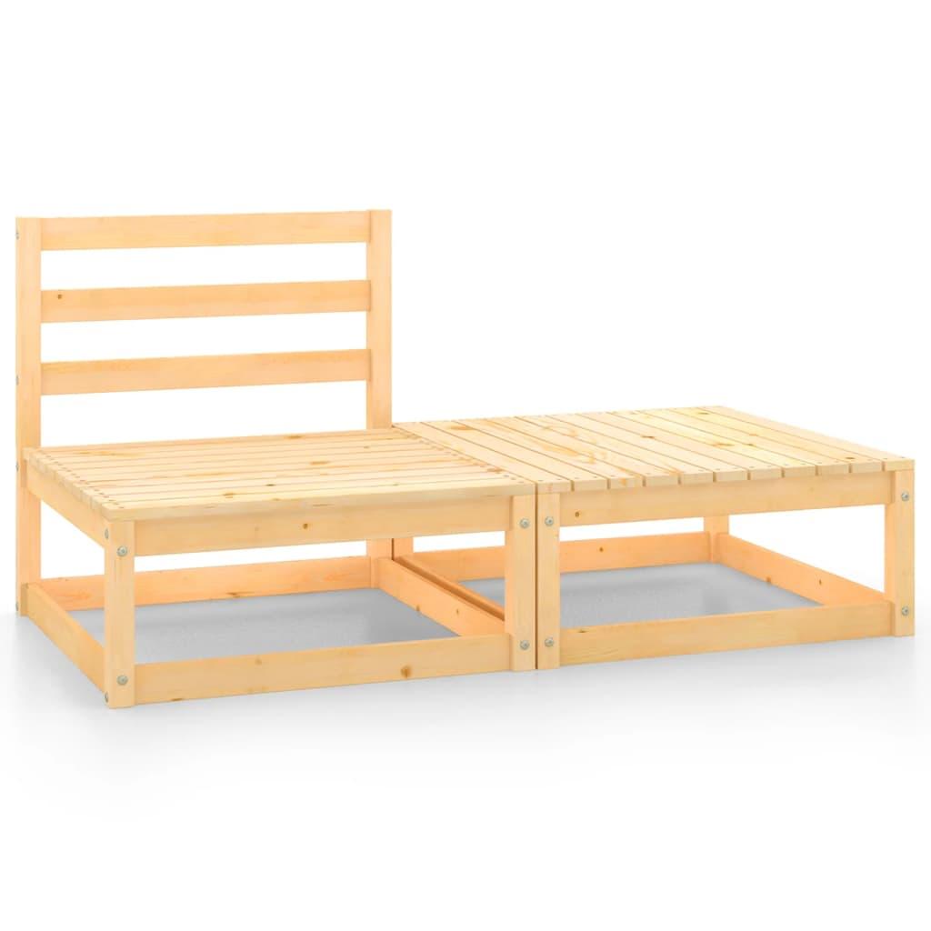 2-tlg. Garten-Lounge-Set Kiefer Massivholz