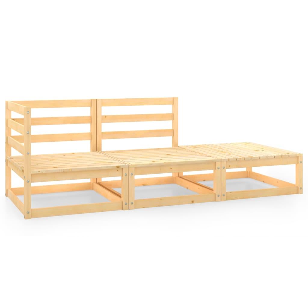 3-tlg. Garten-Lounge-Set Kiefer Massivholz