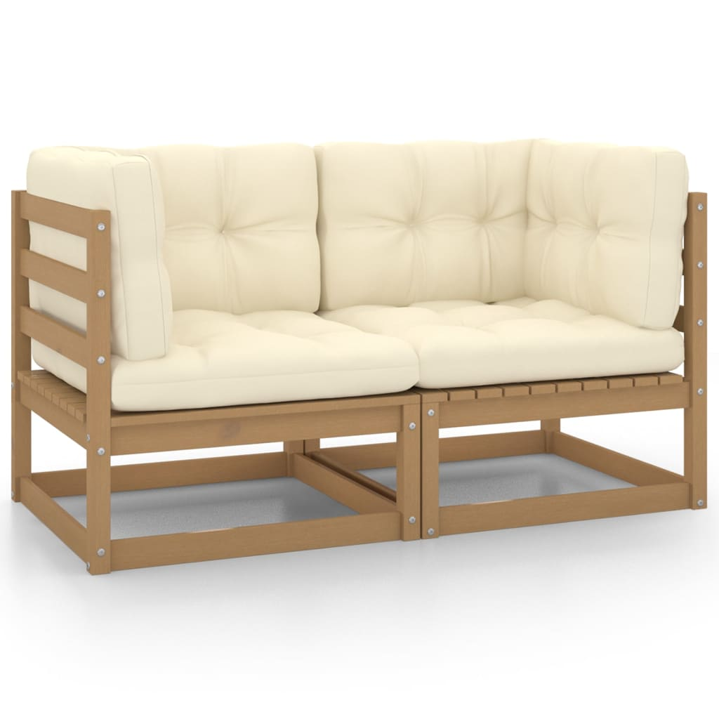 Gartensofa 2-Sitzer mit Kissen Honigbraun Massivholz Kiefer