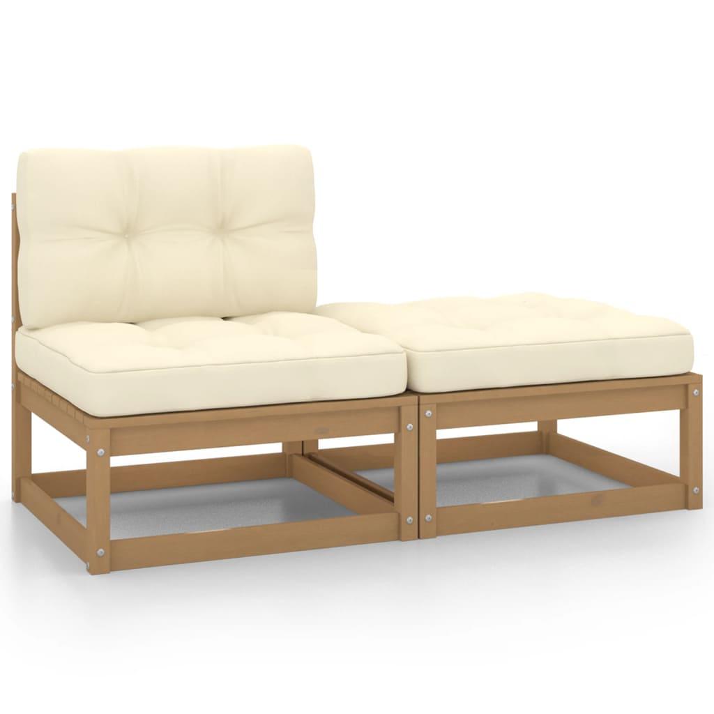 2-tlg. Garten-Lounge-Set & Kissen Honigbraun Massivholz Kiefer