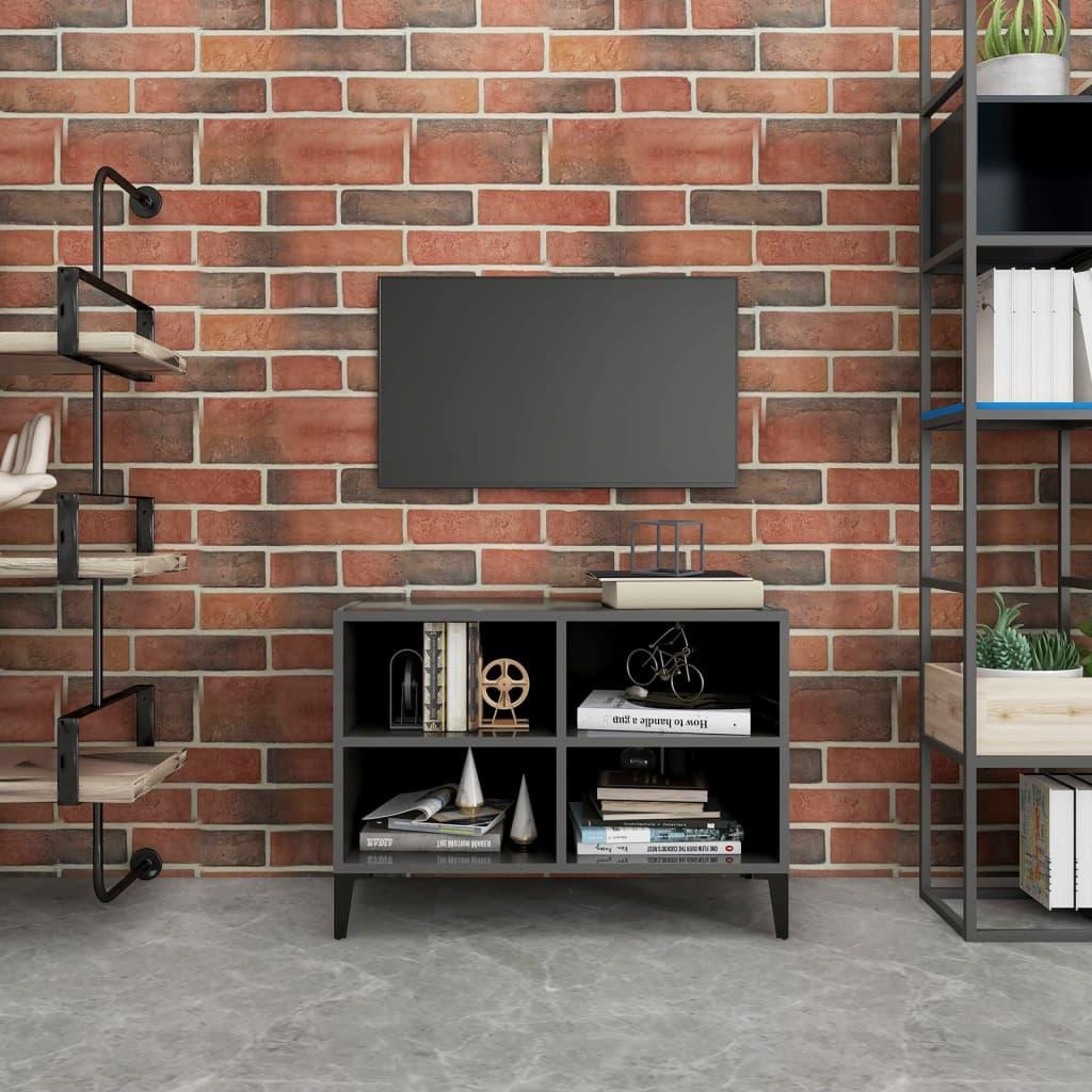 TV-Schrank mit Metallbeinen Hochglanz-Grau 69,5x30x50cm