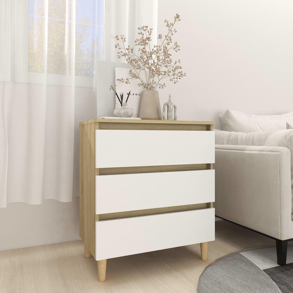 Sideboard Weiß und Sonoma-Eiche 60x35x69 cm Spanplatte