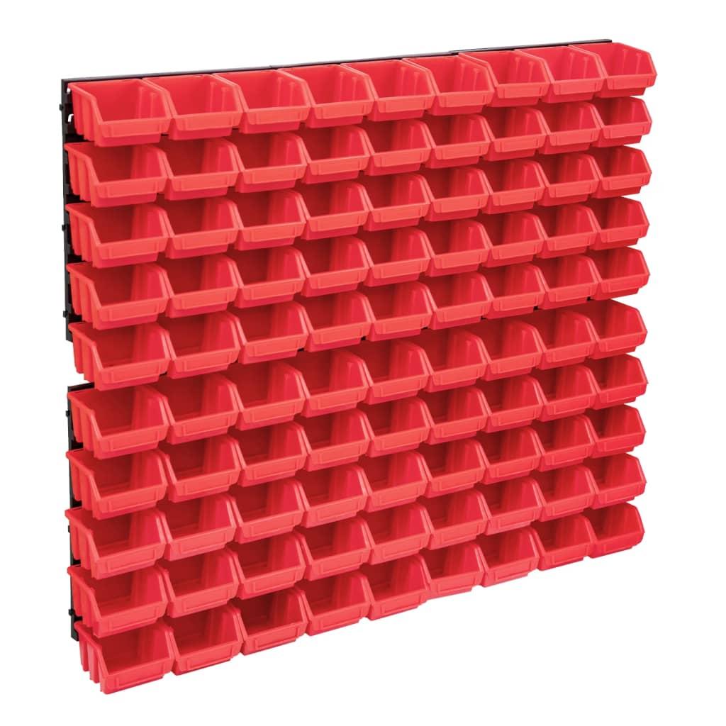 96-tlg. Behälter-Set für Kleinteile mit Wandplatten Rot Schwarz