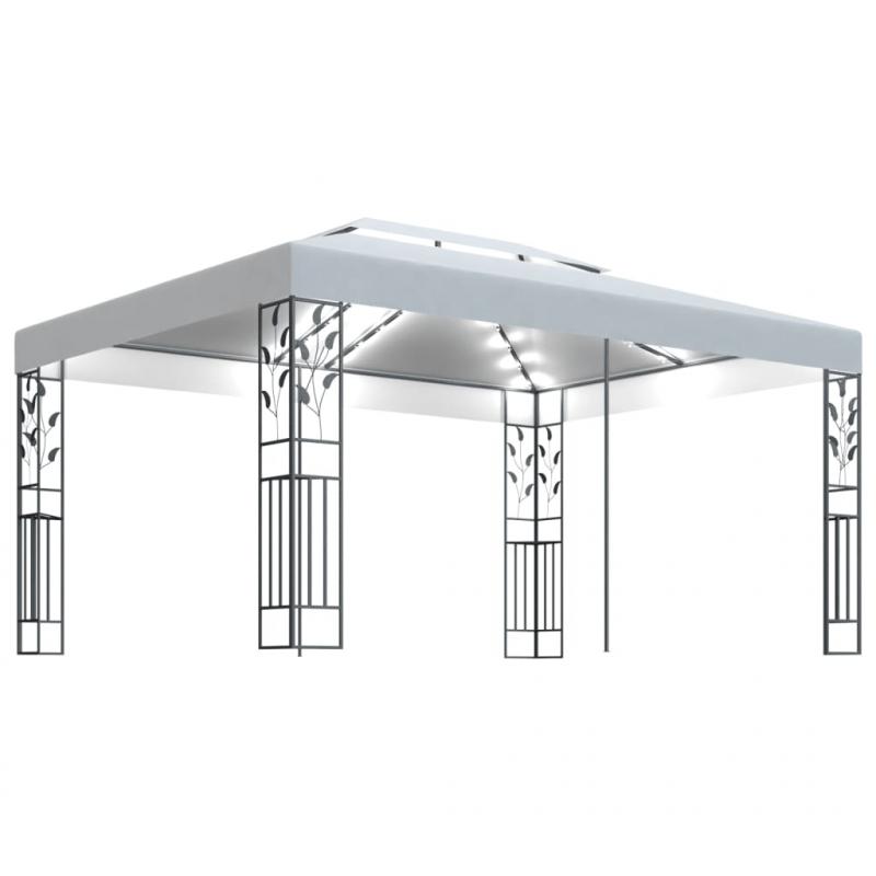 Pavillon mit Doppeldach und Lichterketten 3x4 m Weiß