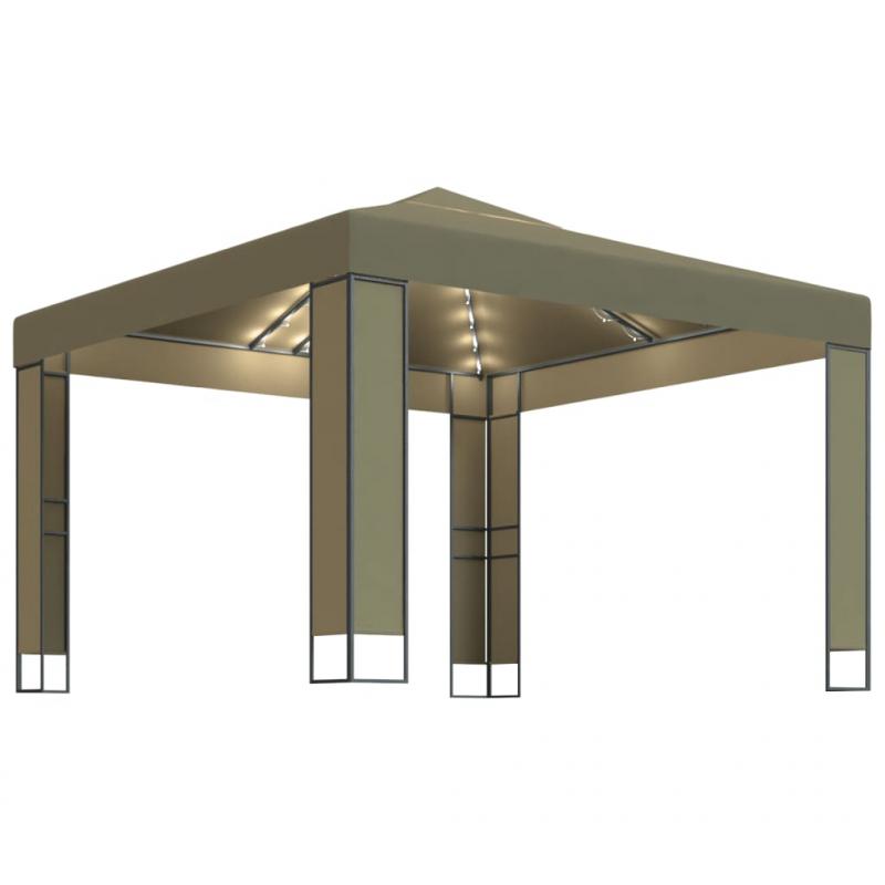Pavillon mit Doppeldach & Lichterketten 3x3x2,7m Taupe 180 g/m²
