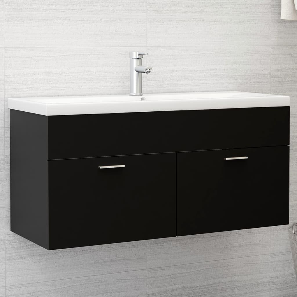 Waschbeckenunterschrank mit Einbaubecken Schwarz Spanplatte