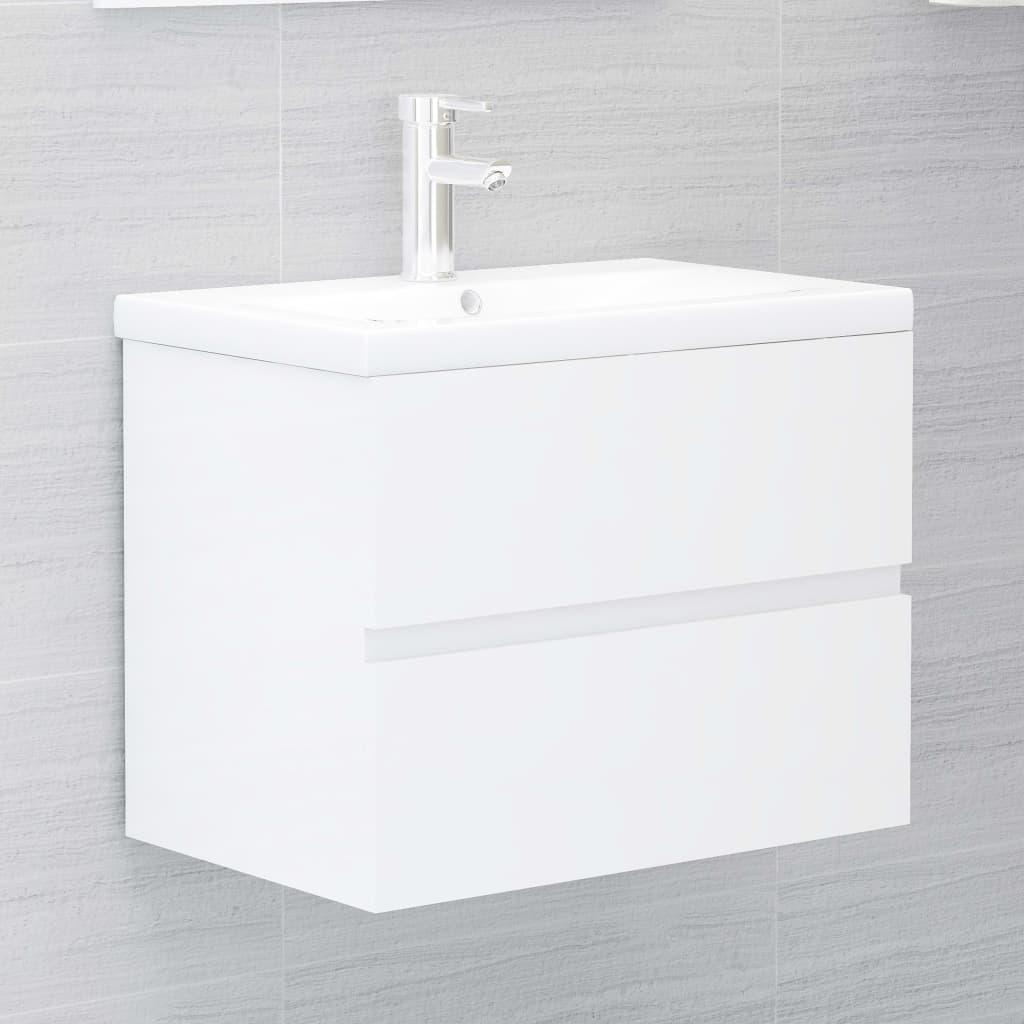 Waschbeckenunterschrank Einbaubecken Hochglanz-Weiß Spanplatte