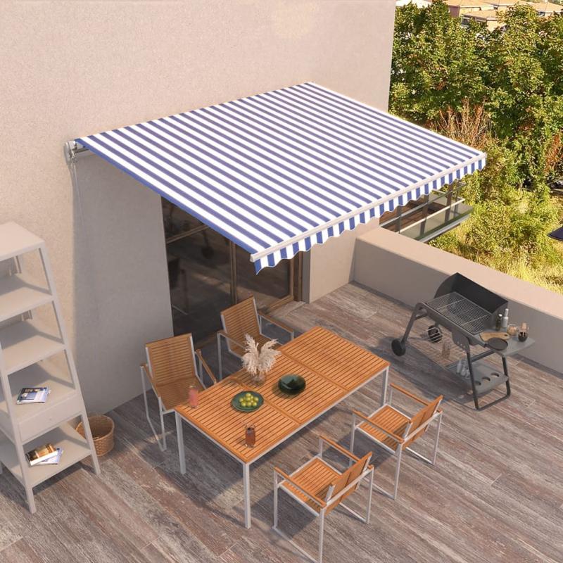 Gelenkarmmarkise Einziehbar 400x350 cm Blau und Weiß