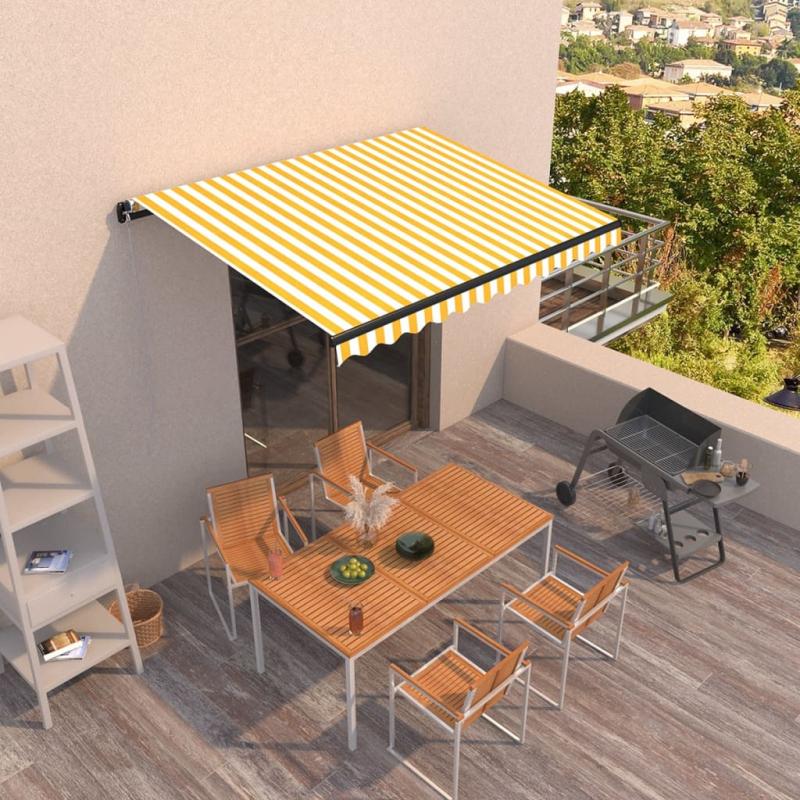 Gelenkarmmarkise Einziehbar 350x250 cm Gelb und Weiß