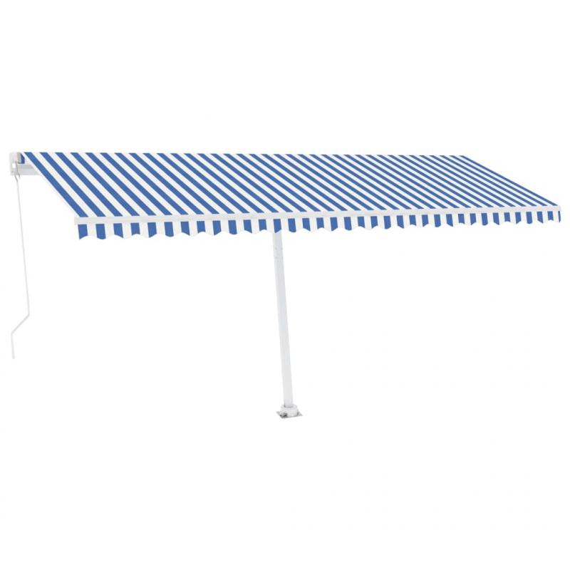 Standmarkise Einziehbar Handbetrieben 500x300 cm Blau/Weiß