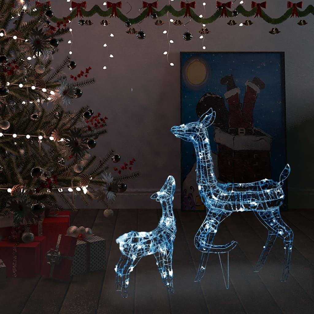 Weihnachtsdekoration Rentier Familie aus Acryl 160 LED Kaltweiß