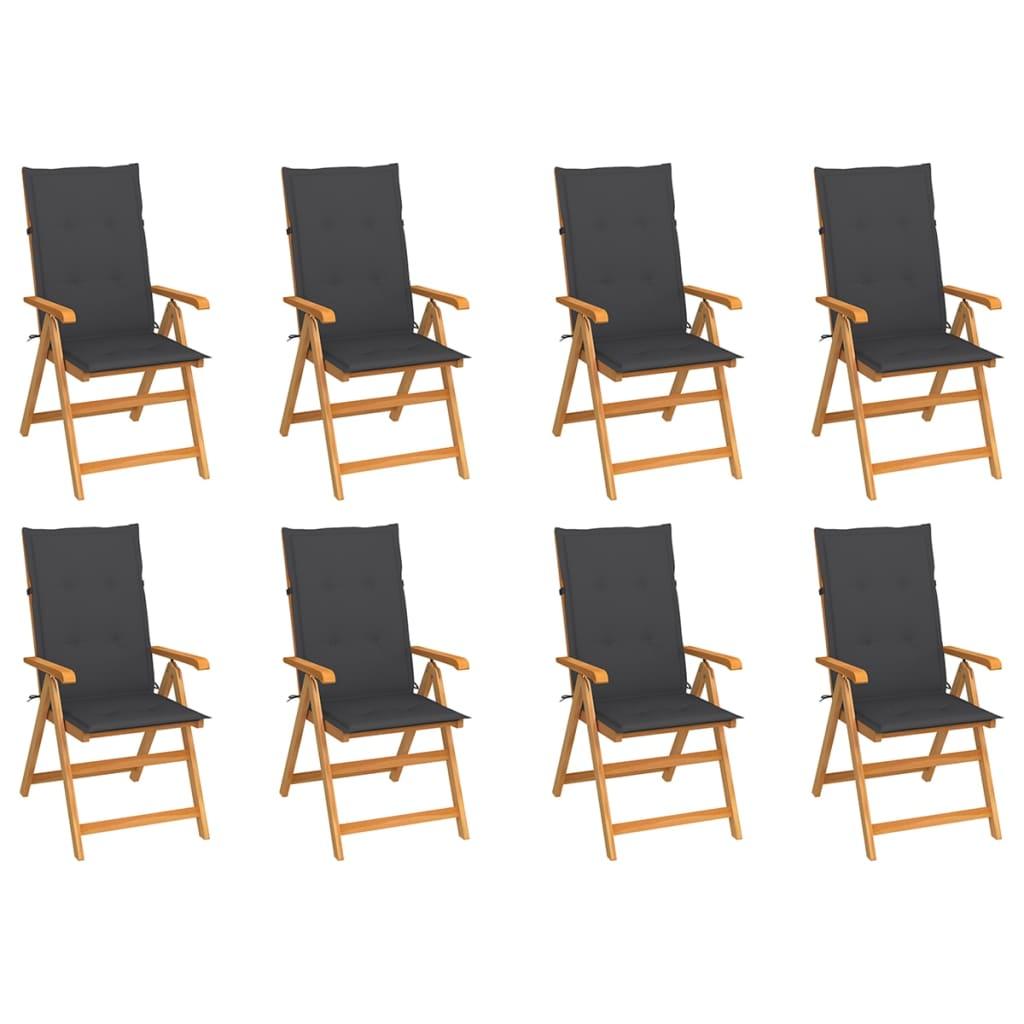 Garten-Liegestühle mit Kissen 8 Stk. Massivholz Teak